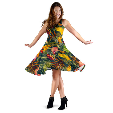 Hawaii Seamless Tropical Flower Plant And Leaf Pattern Midi Dress   - AH - J71