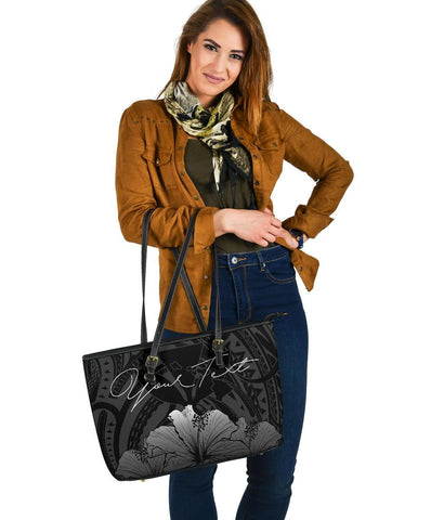 Image of Personalised - Hawaii Royal Hibiscus Polynesian Tribal Large Leather Tote Bag Gray AH J1 - Alohawaii