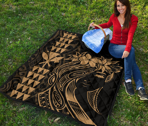 Hawaii Map Kanaka Polynesian Hula Girl Premium Quilt - Gold - AH - J5
