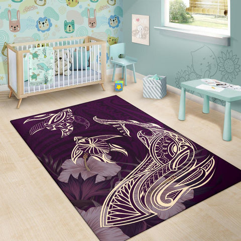 Hawaii Tropical Hibiscus Aumakua  Rug - Lucas Style - Purple - AH - J6
