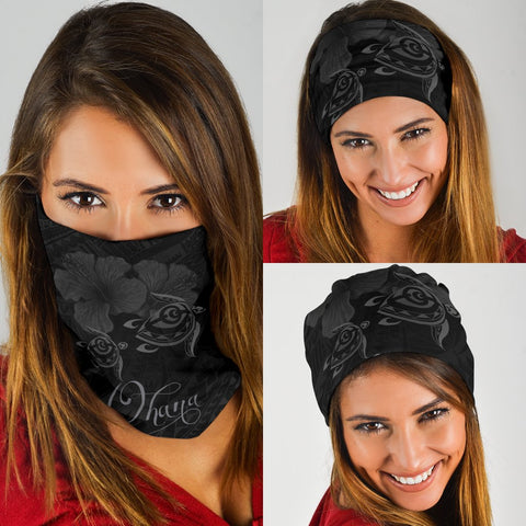 Image of Hawaii Turtle Ohana Hibiscus Polynesian Bandana 3-Pack - Unique Style Gray - AH - J4 - Alohawaii