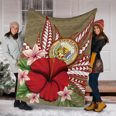 Hawaii Polynesian Coat Of Arm Tropical Premium Blanket - AH - J4