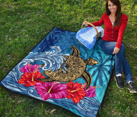 Hawaii Sea Turtle Hibiscus Coconut Tree Premium Quilt - AH - J4 - Alohawaii