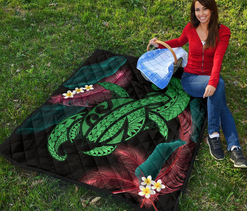 Hawaii Turtle Polynesian Tropical Premium Quilt - Ghia Style Green - AH - J4