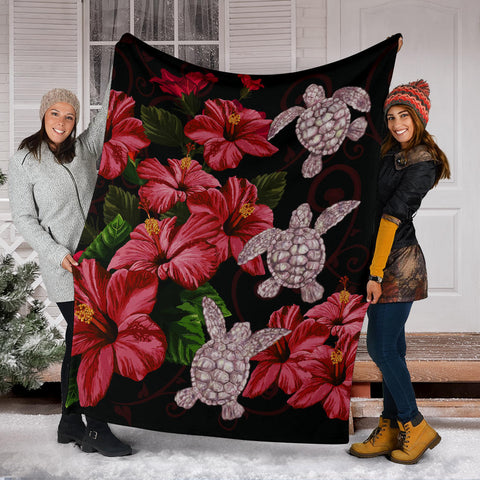 Image of Hawaii Red Hibiscus Turtle Premium Blanket - AH - Ray Style - J5 - Alohawaii
