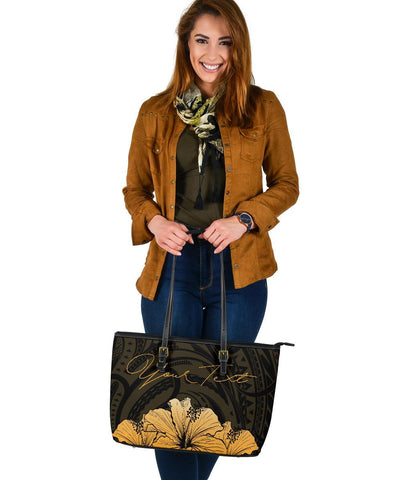 Personalised - Hawaii Royal Hibiscus Polynesian Tribal Large Leather Tote Bag Gold AH J1 - Alohawaii