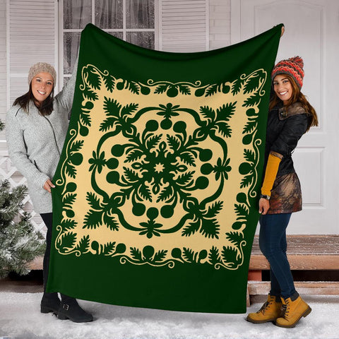 Image of Hawaiian Premium Blanket Royal Pattern - Emerald Green - AH - J6 - Alohawaii