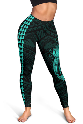 Image of Hawaii Turtle Shark Polynesian Leggings - Turquoise - AH J4