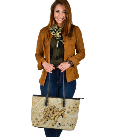 Personalized - Hawaii Turtle Hibiscus Polynesian Large Leather Tote Bag - Beige - AH - J4 - Alohawaii