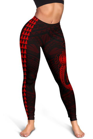Image of Hawaii Turtle Shark Polynesian Leggings - Red - AH J4