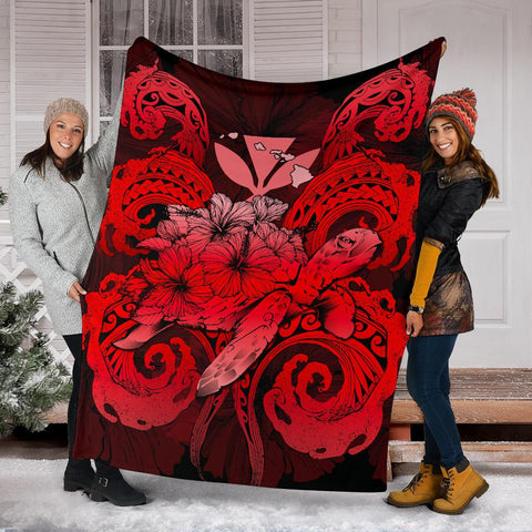 Image of Hawaii Turtle Wave Polynesian Premium Blanket - Hey Style Red - AH - J4
