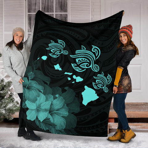 Image of Hawaii Hibiscus Map Polynesian Ancient Turquoise Premium Blanket - AH - J14