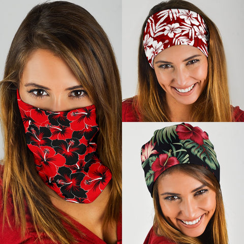 Image of Hawaiian Hibiscus Red Set Bandana 3-Pack J0 - Alohawaii