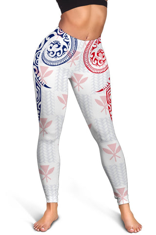 Hawaiian Kanaka Women's Leggings Flag Nation Demodern White AH J1