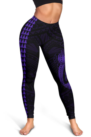 Hawaii Turtle Shark Polynesian Leggings - Purple - AH J4
