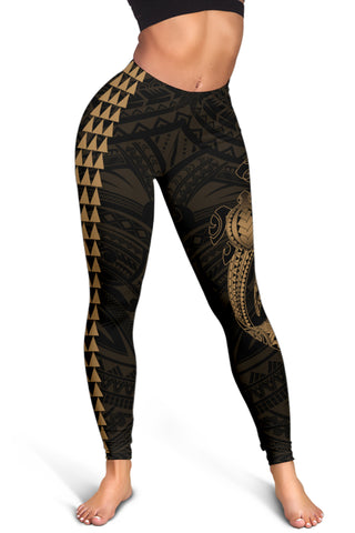 Hawaii Turtle Shark Polynesian Leggings - Gold - AH J4