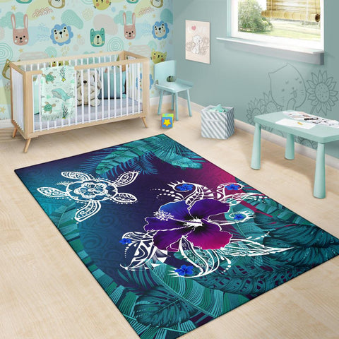 Alohawaii Area Rug - Hawaii Turtle Flowers And Palms Retro - AH J8 - Alohawaii