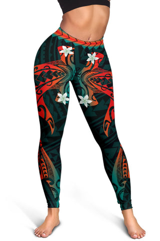 Image of Hawaiian Plumeria Shark Polynesian Women's Leggings - Alohawaii