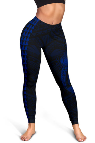 Hawaii Turtle Shark Polynesian Leggings - Blue - AH J4