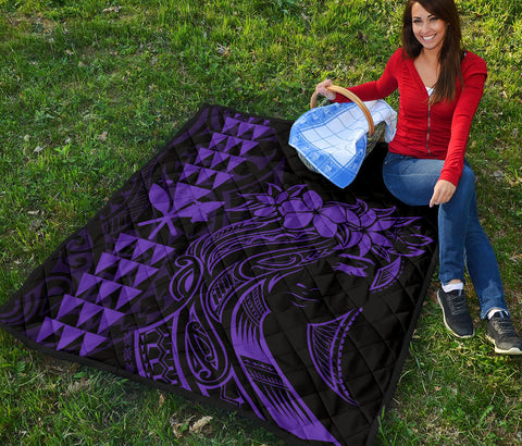 Hawaii Map Kanaka Polynesian Hula Girl Premium Quilt - Purple - AH - J5