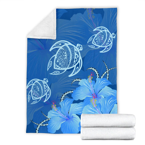 Image of Hawaii Blue Hibiscus Turtle Polynesian Premium Blanket - AH - J4