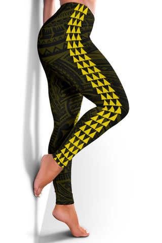 Image of Hawaii Turtle Shark Polynesian Leggings - Yellow - AH J4