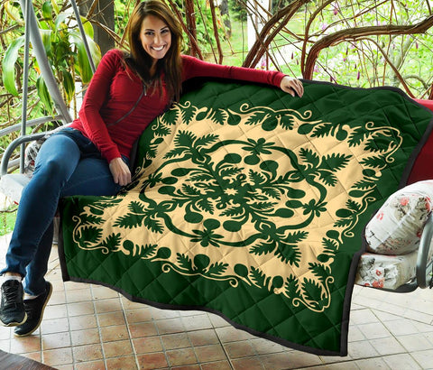 Hawaiian Premium Quilt Royal Pattern - Emerald Green - AH - J6 - Alohawaii