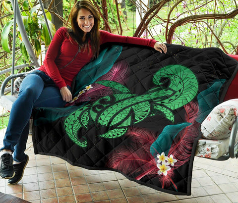 Image of Hawaii Turtle Polynesian Tropical Premium Quilt - Ghia Style Green - AH - J4