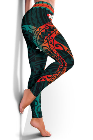 Hawaiian Plumeria Shark Polynesian Women's Leggings - Alan Style - AH - J2