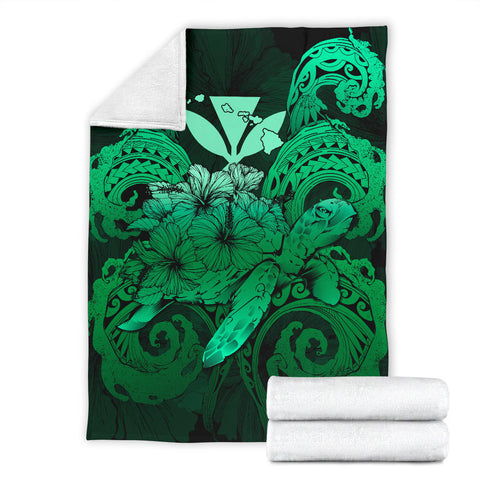 Hawaii Turtle Wave Polynesian Premium Blanket - Hey Style Green - AH - J4