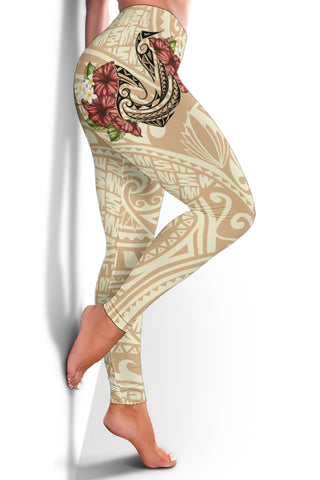 Hawaii Fish Hook Hibiscus Women's Leggings - Beige - AH - J4