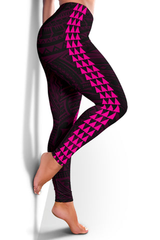 Hawaii Turtle Shark Polynesian Leggings - Pink - AH J4