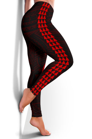 Hawaii Turtle Shark Polynesian Leggings - Red - AH J4