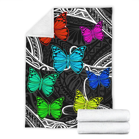 Image of Hawaii Polynesian Butterflies Premium Blanket - AH - J5 - Alohawaii
