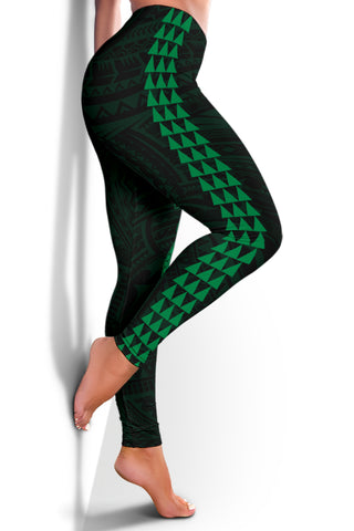 Hawaii Turtle Shark Polynesian Leggings - Green - AH J4