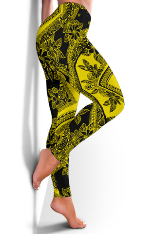 Polynesian Plumeria Mix Yellow Black Hawaii Women's Leggings AH J2