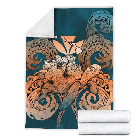 Image of Hawaii Turtle Wave Polynesian Premium Blanket - Hey Style Orange - AH - J4