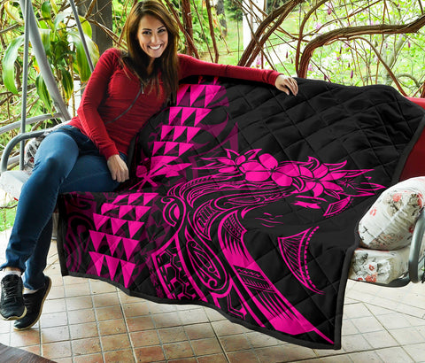 Image of Hawaii Map Kanaka Polynesian Hula Girl Premium Quilt - Pink - AH - J5
