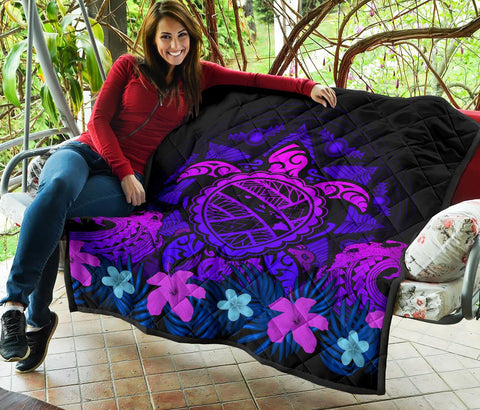 Hawaii Turtle Polynesian Blue Premium Quilt - Kuly Style - AH - J4