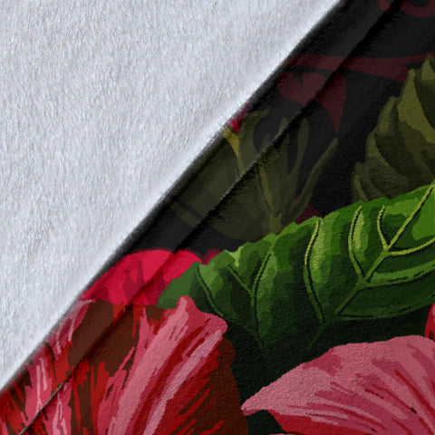 Hawaii Red Hibiscus Turtle Premium Blanket - AH - Ray Style - J5 - Alohawaii