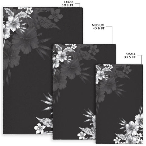 Black n White Hibiscus Area Rug - AH J4 - Alohawaii