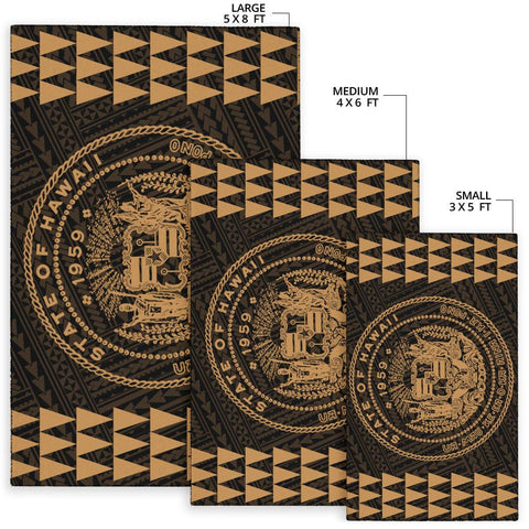 Image of Kakau Seal Of Hawaii Polynesian - Gold Rug - AH - J6 - Alohawaii