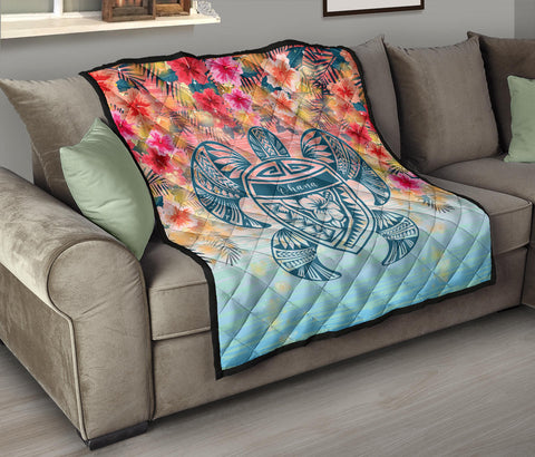 Hawaii Turtle Ohana Stary Night Hibiscus Premium Quilt - AH - J4