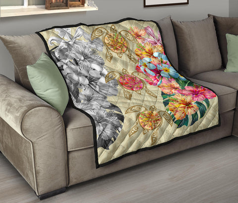 Hawaii Polynesian Flowers Swimming Turtles Premium Quilt - AH - J5 - Alohawaii
