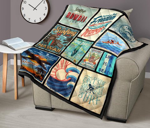 Hawaii Culture Vintage Premium Quilt Blue - AH J2 - Alohawaii