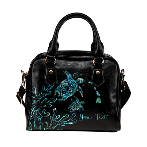 Image of Personalized - Hawaii Turtle Ohana Paua Shell Shoulder Handbag