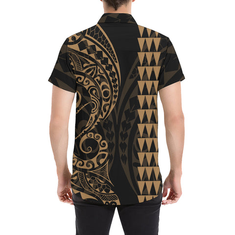 Image of Kanaka Map Men's Short Sleeve Shirt Gold - AH J4 - Alohawaii