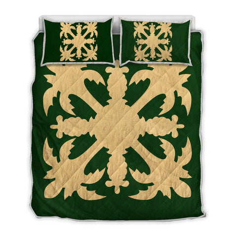 Hawaiian Royal Pattern Quilt Bed Set - Green - H1 Style - AH - J2