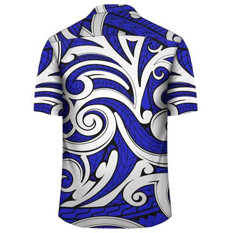 Polynesian Maori Ethnic Ornament Blue Hawaiian Shirt - AH - J1 - Alohawaii
