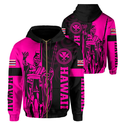 Hawaii King Polynesian Hoodie (Zip-up) - Lawla Style Pink - AH - J4